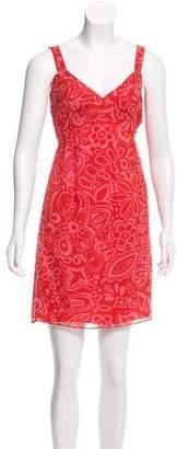 Anna Sui Floral Print Silk Dress