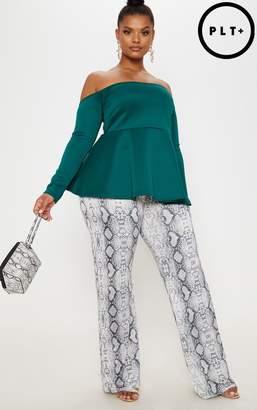 PrettyLittleThing Plus Emerald Green Bardot Peplum Top