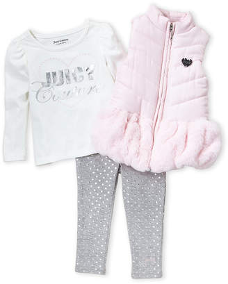 Juicy Couture Infant Girls) 3-Piece Faux Fur Trim Puffer Vest and Pants Set