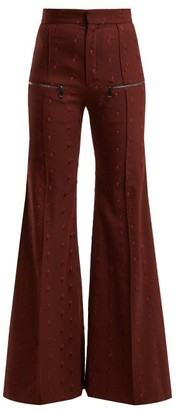 Chloé Little Horses High Rise Wool Blend Trousers - Womens - Burgundy