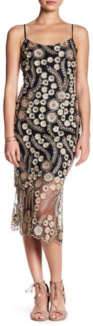 bebe Floral Embroidered Sequin Slip Dress