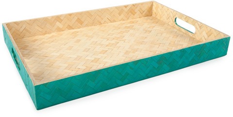 Core Bamboo Large Woven Tray Teal
