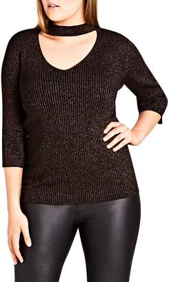 City Chic Festivity Shimmer Top