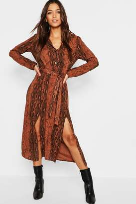 boohoo Chocolate Snake Button Through Midi Dress