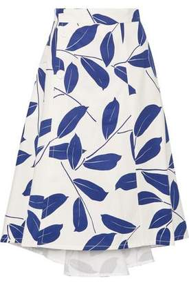 Marni Printed Cotton And Linen-Blend Midi Skirt