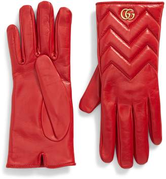 Gucci GG Marmont Cashmere Lined Leather Gloves