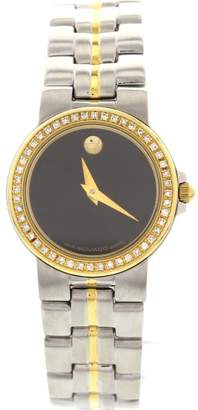 Movado Museum Bubble 18K Yellow Gold Plated & Stainless Steel & Diamond Womens Watch