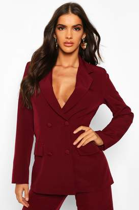 boohoo Woven Double Breasted Pocket Detail Blazer