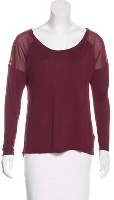 Juicy Couture Long Sleeve Mesh-Trimmed Top