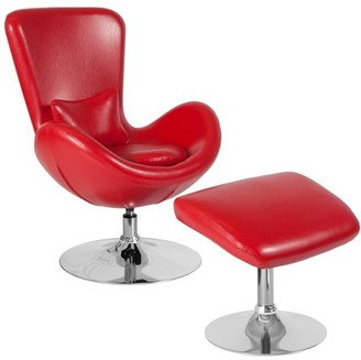 Flash Furniture Egg Series Red Leather Side Reception Chair with Ottoman