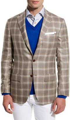 Kiton Plaid Cashmere-Silk Three-Button Sport Coat, Tan/Creme