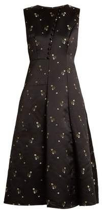 Erdem Yasmine Floral Embroidered Duchess Satin Gown - Womens - Black Multi