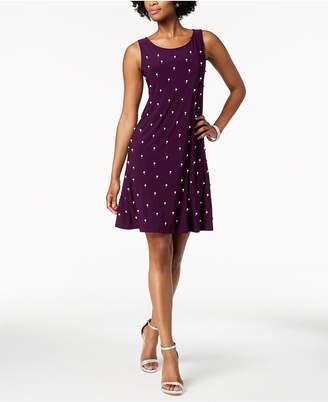 MSK Pearl Embellished-Front A-Line Dress