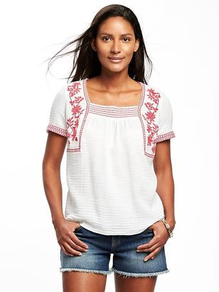 Relaxed Embroidered Swing Top for Women $34.99 thestylecure.com