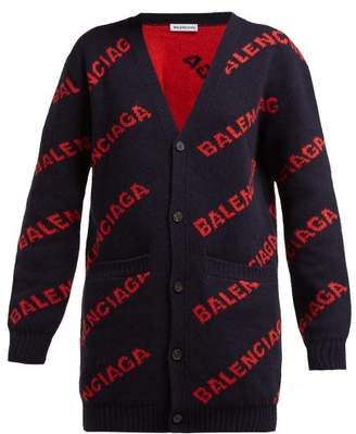 Balenciaga Logo Jacquard Wool Blend Cardigan - Womens - Navy Multi