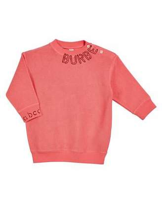 Burberry Rosalia Long-Sleeve Stencil Logo Sweater Dress, Size 6M-2