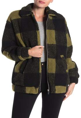 Coffee Shop Plaid Print Faux Shearling Jacket
