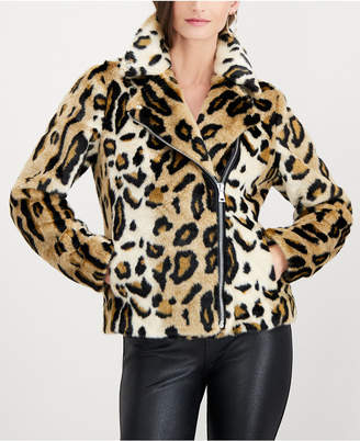 INC International Concepts I.n.c. Leopard-Print Faux-Fur Coat