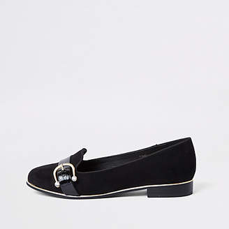 River Island Black wide fit rhinestone buckle ballet shoe