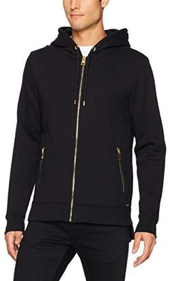 GUESS Men's Roy Embroidered Long Line Hood Sweatshirt