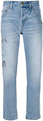 Current/Elliott embroidered straight-leg jeans