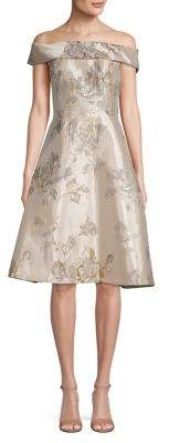 Calvin Klein Metallic Floral A-Line Dress