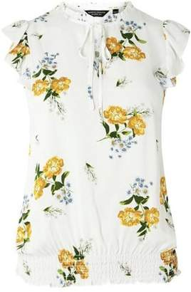 Dorothy Perkins Womens Ivory Floral Gathered Hem Top