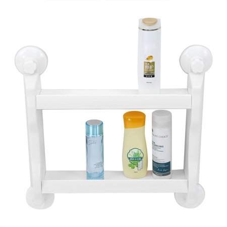 EECOO Bathroom Kitchen Double Tiers Strong Suction Cup Rack,Double Tier Wall Mount Storage Shelf,White