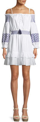 Rebecca Minkoff Brittany Off-the-Shoulder Embroidered Mini Dress