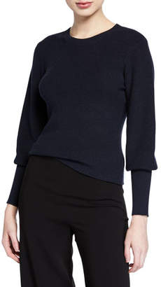 Theory Blouson-Sleeve Ribbed Cotton-Cashmere Sweater