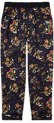 Jigsaw Girls' Floral Woven Trousers, Navy