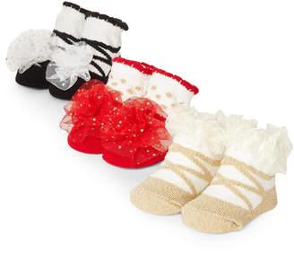 Laura Ashley Newborn Girls) 3-Pack Dressy Sock Gift Set
