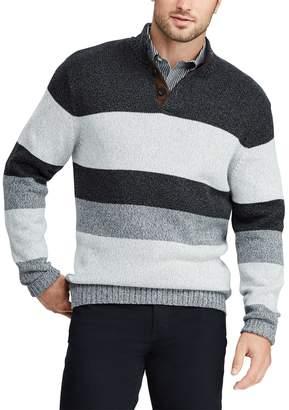 Chaps Big & Tall Classic-Fit Striped Mockneck Sweater