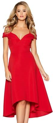 a5a519c57c Quiz - Red Sweetheart Neck Strappy Bardot Dress