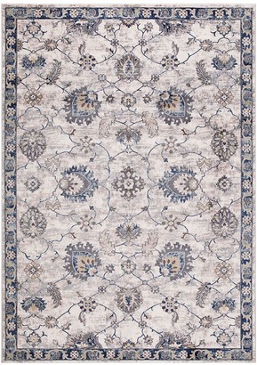 Blue Area Concord Global Olympus Mahal Framed Floral Rug