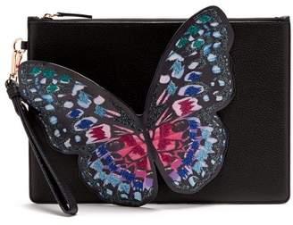 Sophia Webster Flossy Butterfly Leather Clutch - Womens - Black Multi