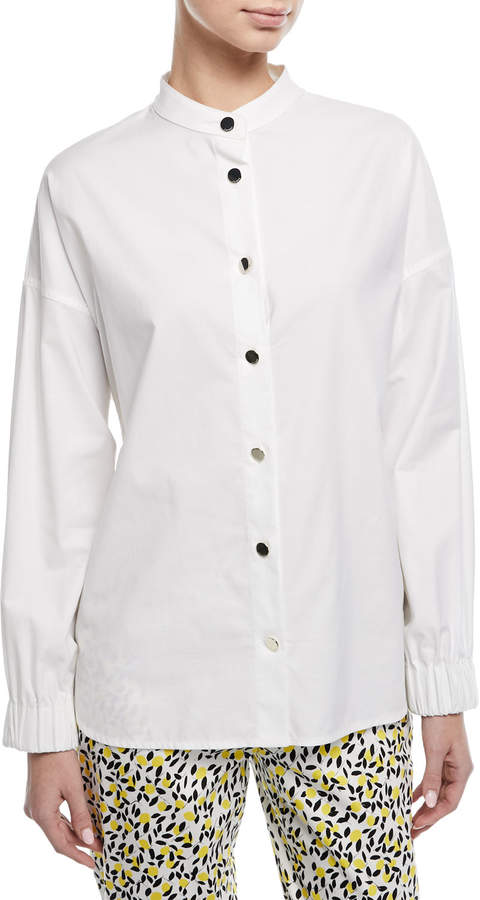 Escada Button-Front Long-Sleeve Twill Shirt