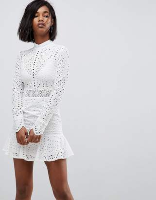 Lioness High Neck Cutwork Lace Mini Skater Dress