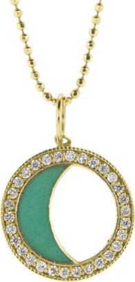 Andrea Fohrman Diamond Moon Phase and Turquoise Enamel Necklace