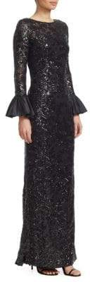 Teri Jon by Rickie Freeman Sequined Bell-Sleeve Gown