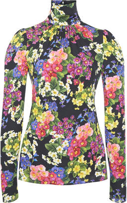 Dolce & Gabbana Floral-Print Stretch Silk-Charmeuse Turtleneck Top