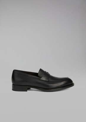 Giorgio Armani Galician Calfskin Leather Loafer With Saddle Strap