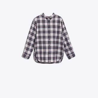 Balenciaga Swing tartan shirt, delicately uncovers the neckline