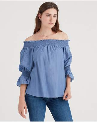 59c1e2159d0 7 For All Mankind Off Shoulder Smock Top In Persian Blue