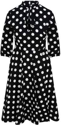 Zalinah White - Alice Black And White Polka Dot Swing Midi Dress With Neck Bow