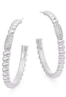 """John Hardy Bedeg 0.30 TCW Diamond & Sterling Silver Hoop Earrings/1.5"""""""