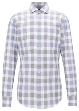 BOSS Hugo Slim-fit cotton Oxford shirt Vichy check 15.5 Open Blue