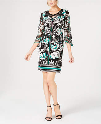 JM Collection Printed Chiffon-Sleeve Sheath Dress