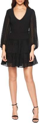 Bardot Mae Lace & Swiss Dot Fit & Flare Minidress