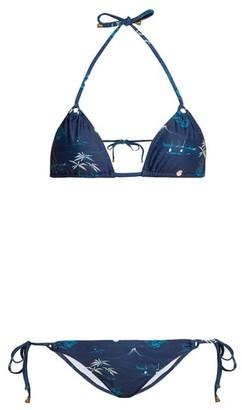 Thorsun - Alex Floral And Palm Tree Print Triangle Bikini - Womens - Navy Print